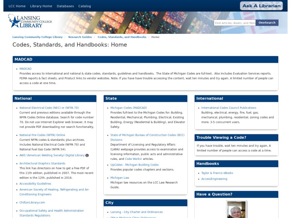 Screenshot of homepage of Codes, Standards, and Handbooks guide